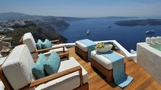 Aqua furniture this would fit in at Daddy's Dream Vacations, Vacation Spots, Imerovigli Santorini, Greece Hotels, Tropical Beaches, Rooftop Terrace, Outdoor Furniture Sets, Outdoor Decor, Luxury Life