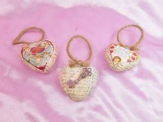 Set/3 Vintage Inspired Valentine Card Image Feather Tree Ornament French Script