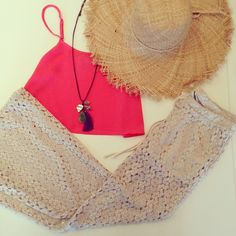 Lace pants, straw hat, tank and bare feet complete this look now available at Ciao Bella