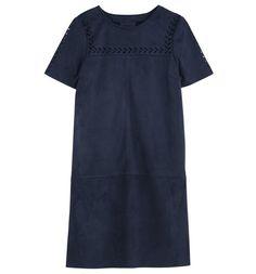 Mock suede dress navy blue - Promod