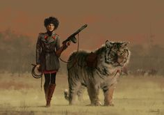 Olga with her Siberian Tiger - Changa. New character concept art for 'Scythe' game and my 1920+ universe, hope you like it, cheers! :)