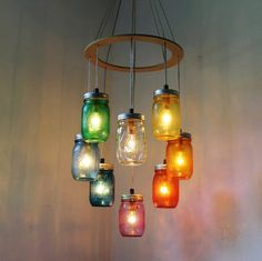 RAINBOW Heart-Shaped Mason Jar Chandelier - Rustic Hanging Pendant Lighting…