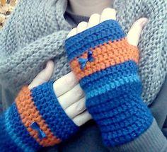 Háčkované bezprstové rukavice modro-oranžové s mašličkou