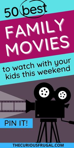 50 of the BEST family movies to watch, that kids AND grown-ups will like! These top family movies of all time include the classics, as well as new kids' movies, Disney movies, funny family movies, and more! This big list of family movie ideas is perfect for your next movie night with the kids, or if you are looking for something family-friendly to do when you're bored at home. fun family movies to watch | family movies on Amazon | family movies on Netflix | activities for kids indoors