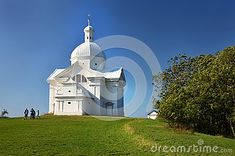 On assignment MY NEIGHBORHOOD: Entirely white chapel on the top of the Holy Hill as the most striking dominant above the town Mikulov, Czech republic