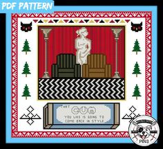 That Gum You Like Pattern/PDF Twin Peaks Cross by PyroDogPins