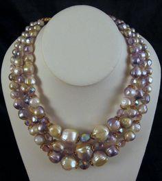 Three Strand Lavender Cream Graduated Beads AB Crystals Necklace