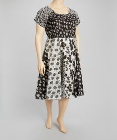 Another great find on #zulily! Black & White Patchwork Dress - Plus by La Cera #zulilyfinds