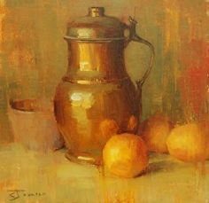brass with orange by Curtis Jaunsen Oil ~ 12 x 12