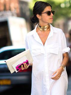 Crisp white shirt & gold choker.