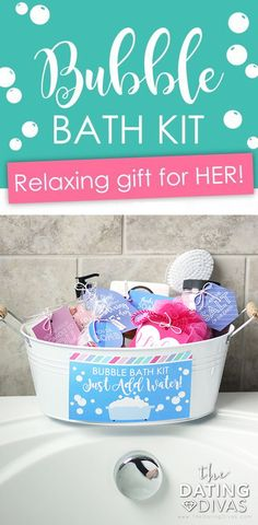 "A bubble bath kit stress relief gift basket is a GENIUS idea for a gift for mom! You provide the luxurious bath products and all mom has to do is ""Just Add Water! Diy Mothers Day Gifts, Gifts For Mom, Bath Gift Basket, Love Gifts For Her, Bath Kit, Lip Scrub Homemade, Relaxation Gifts, Lush Bath Bombs, Homemade Cosmetics"