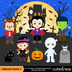 HALLOWEEN Digital Clipart Halloween Clipart Trick or Treat