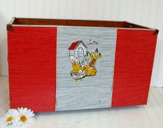 Large Early Red Vinyl Covered Wooden Toy Chest  by DivineOrders, $100.00