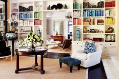 Love the shelves around the doorway but not liking the anal-retentive book shelving by color.