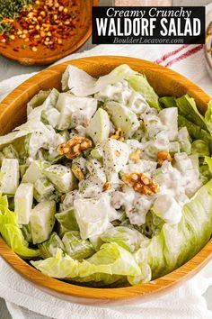 Delicious crunchy, creamy Waldorf Salad is always a favorite. Made with simple fresh ingredients it's a great light main dish or side dish for holidays. Loads of variations included. Best Waldorf Salad Recipe, Creamy Fruit Salads, Classic Salad, Taco Salad Recipes, Main Dish Salads, Food Out, Salad Ingredients, Soup And Salad, Side Dishes