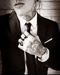 "Chris Motionless // Motionless In White ""Anyone asking for a man in a suit and tie for Christmas?? """