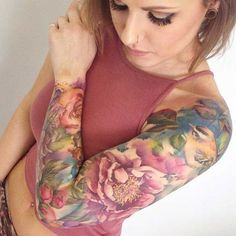 Pastel Full Sleeve Tattoo