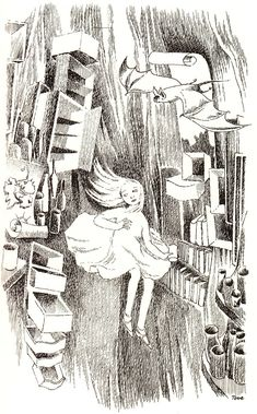 TOVE JANSSON (1966)  In 1959, three years before the publication of her gorgeous illustrations for The Hobbit and nearly two decades after her iconic Moomin characters were born, celebrated Swedish-speaking Finnish artist Tove Jansson was commissioned to illustrate a now-rare Swedish edition of Alice's Adventures in Wonderland (public library),