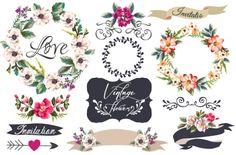 disegnata a mano fiore cornice con elementi di ornamento vettore