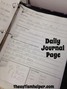 The Autism Helper - Daily Journal free download with a rubric.