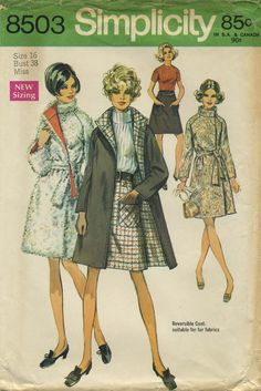 Vintage Sewing Pattern   Skirt and Reversible Coat   Simplicity 8503   Year 1969   Bust 38   Waist 29   Hip 40