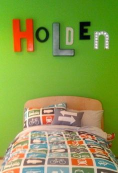 A wonderful Mom in Atlanta created this for her little boy's room using letters from Timeless Treasures.