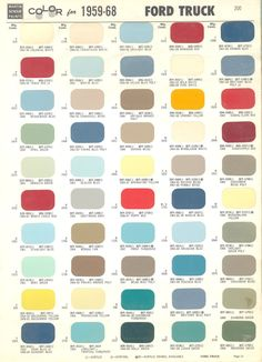 1968 Ford Color Chart   Color Chart for 1959 - 1968 Ford & Mercury Trucks
