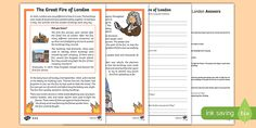 Great Fire of London Differentiated Reading Comprehension Activity Great Fire Of London, The Great Fire, Reading Comprehension Ks1, Sequencing Cards, Primary Resources, Reading Skills, Classroom Activities, Education, Newspaper Report