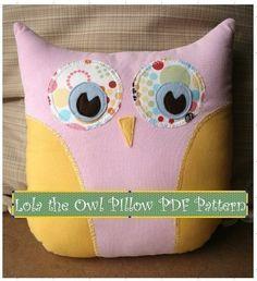 Lola The Owl Pillow PDF Pattern and bonus Lola Owl Bag Pattern / Gingercake