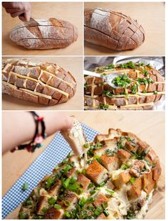 how to make cheesy pull apart bread -    1 unsliced loaf sourdough bread 350 g cheese green onions 2 teaspoons poppy seeds 1/2 cup butter, melted