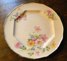 Cottage Chic Pink Floral China Plate with by GinasTreasureTrove Old Plates, China Plates, Small Plates, Taylor Smith, Soft Pink Color, Serving Plates, Cottage Chic, Dinner Plates, No Response