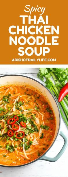 chicken noodle soup Skip the takeout! This Thai Chicken Noodle Soup is easy to make at home with ingredients you can find in your local supermarket. If you love Thai food, you need to try this recipe! Thai Recipes, Asian Recipes, Soup Recipes, Chicken Recipes, Cooking Recipes, Healthy Recipes, Healthy Soups, Cooking Kale, Recipes