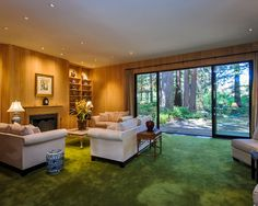 green colored carpet that looks like grass seamlessly blends with the outside.