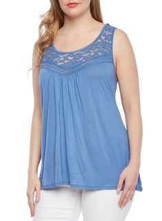 Rainbow Plus Size Tank Top with Lace Yoke | All your boho chic dreams will come true in this breezy plus size tank top. Crafted from soft knit fabric, this billowy top features a sleeveless design, a gathered front and a pretty sheer lace yoke in front and back. This scoop neck top works well as a layering piece or alone with boyfriend jeans and ballet flats.