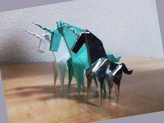 Origami Unicorn 折り紙 ユニコーン - YouTube Origami Videos, Origami Animals, Origami Tutorial, Prehistoric, Mythology, Unicorn, Recycling, Geek Stuff, Dragon