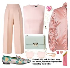 """Oh ! But it's Tuesday"" by carolsposito ❤ liked on Polyvore featuring Fendi, Gucci, Simone Rocha, Acne Studios, Ted Baker, Quay, Punky Pins and Wolf & Moon"