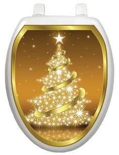 Found it at Wayfair - Holiday Gold Christmas Tree Toilet Seat Decal Christmas Tree Vinyl, Christmas Tree Design, Beach Christmas, Golden Tree, Gold Tattoo, Vinyl Cover, Seat Covers, Selling On Ebay, Cleaning Wipes