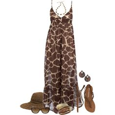 """Giraffe Print Maxi Dress"" by daiscat on Polyvore"