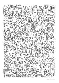 Neighborhood II Print by Judykaufmann on Etsy