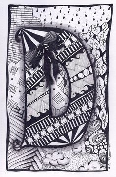 Zentangle, Letter D, ZebrA Letters, name, bunting