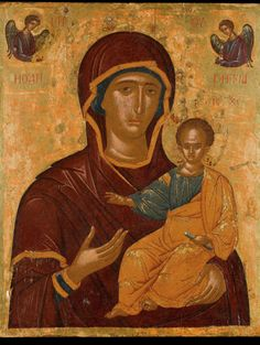 Mother of God Hodegetria icon from 16th C  Cretan by EthosIcons