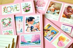 Love the idea of using vintage postage stamps for the save the dates. Pink Postage Stationery Love Gift Set Vintage by EdelweissPost, $29.00