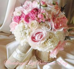 LARGE Silk Bride Bouquet White Cream Pale Pink by WeddingsByBillie