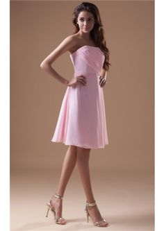 Strapless  Zipper A-line Sleeveless Pink Knee Length Chiffon Ruched Bridesmaid Dresses