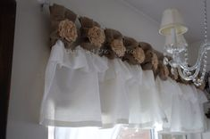 White Linen Burlap Valance handmade tea by RusticChicTogether