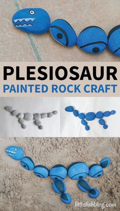 Plesiosaur Painted Rock Craft - Little Fish : Make this easy Plesiosaur painted rock craft with a few simple materials. Dinosaur fans of all ages will love this. You can make other dinosaurs too! Dinosaur Activities, Dinosaur Crafts, Craft Activities, Preschool Crafts, Dinosaur Art, Vocabulary Activities, Toddler Activities, Stone Crafts, Rock Crafts