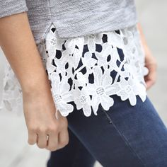 Spring's biggest trend—crochet—couldn't be more beautiful. Taking details to a whole new flirty level, this crochet-hem top is perfect paired with your favorite jeans and simple jewelry. Love it? Sign up for Stitch Fix to get boxes of on-trend fashion delivered straight to your door!