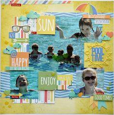#papercraft #scrapbook #layout.   SUN POOL TIME HAPPY ENJOY - Scrapbook.com - Summer Paradise Simple Set