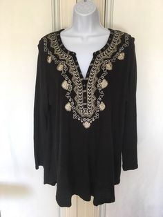 Lucky Brand Womens Top Embellished Y Neckline Size XL Black High Low 102e47083