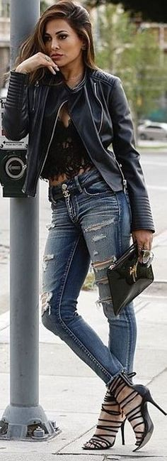 Leather + Lace + Denim                                                                             Source